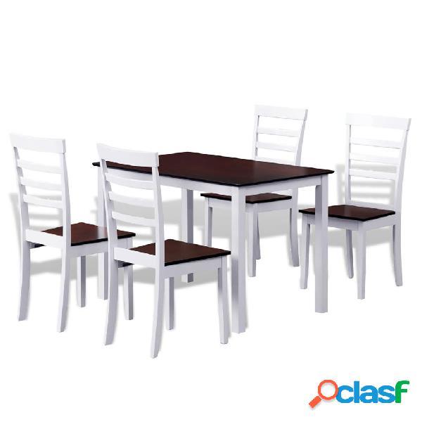 vidaXL Set Tavolo da Pranzo in Legno Massello e 4 Sedie