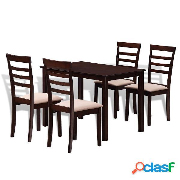 vidaXL Set Tavolo da pranzo e 4 sedie in legno marrone e