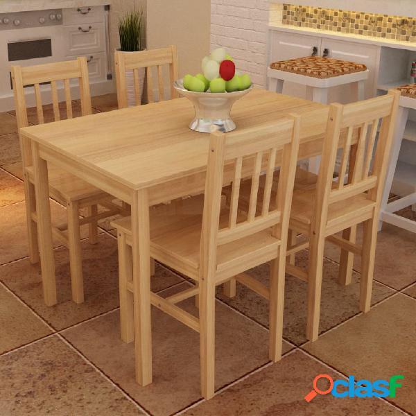vidaXL Tavolo con 4 sedie in Legno Naturale