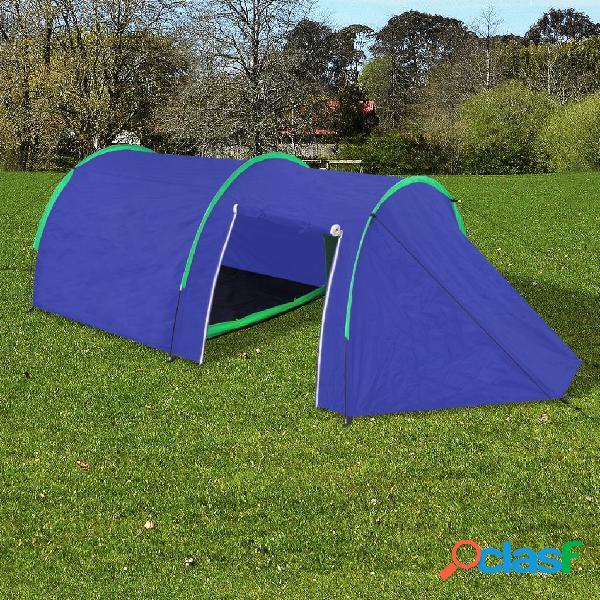 vidaXL Tenda da Campeggio per 4 Persone Blu Marino/Verde