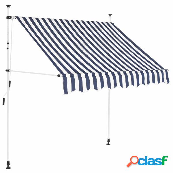 vidaXL Tenda da Sole Retrattile Manuale 150 cm a Strisce Blu