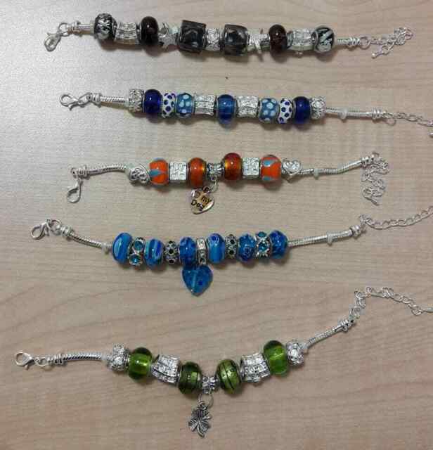 Braccialetti regolabili metallo perle vetro murano