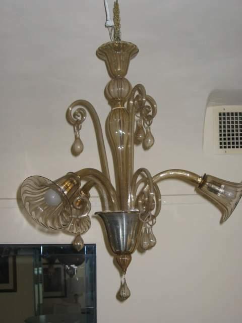 Art Deco. Lampadario di Venini tre luci.