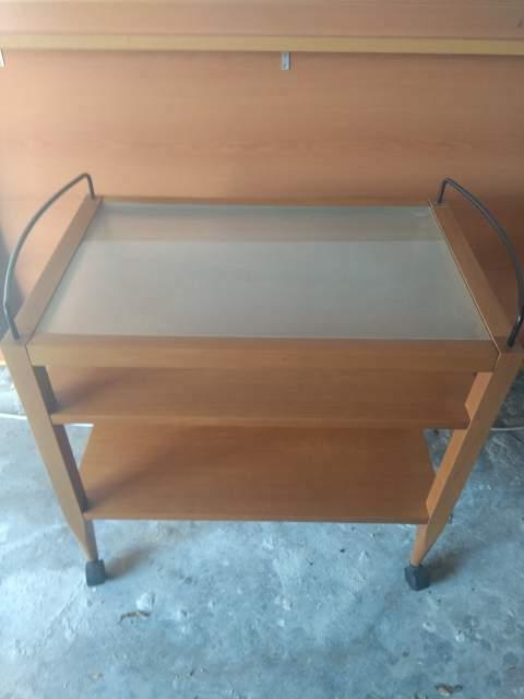 Carrello x cucina in legno e vetro con ruote