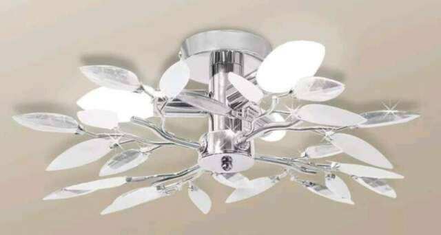 Lampada da soffitto foglie simil cristallo elegante