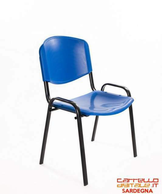 Poltrone sedie attesa plastica blu conferenza ufficio