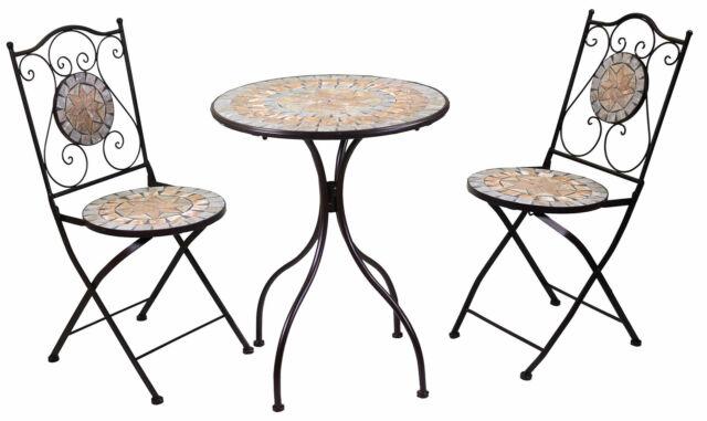 Set Da Giardino Pieghevole In Metallo Con Tavolo E 2 Sedie