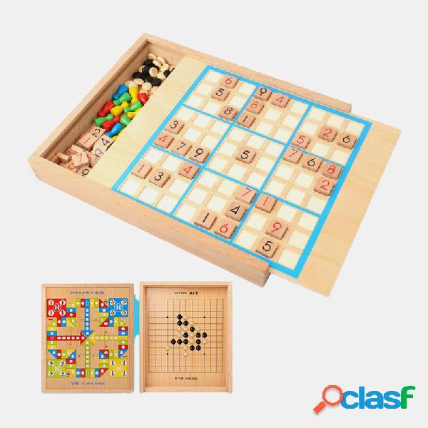 3 in 1 festa in legno Sudoku scacchi Gobang regalo di