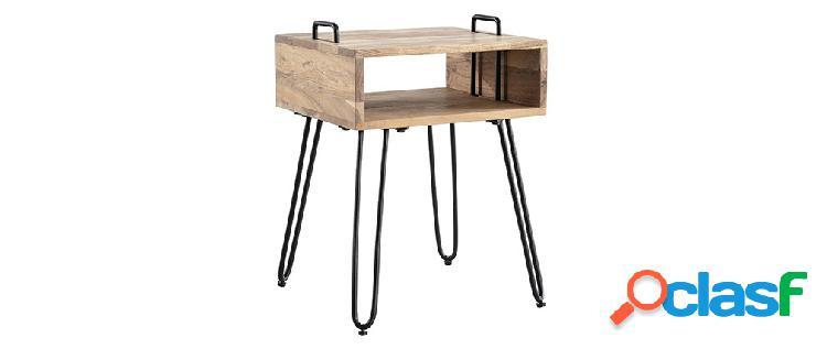 Tavolino complementare in legno di acacia e metallo nero
