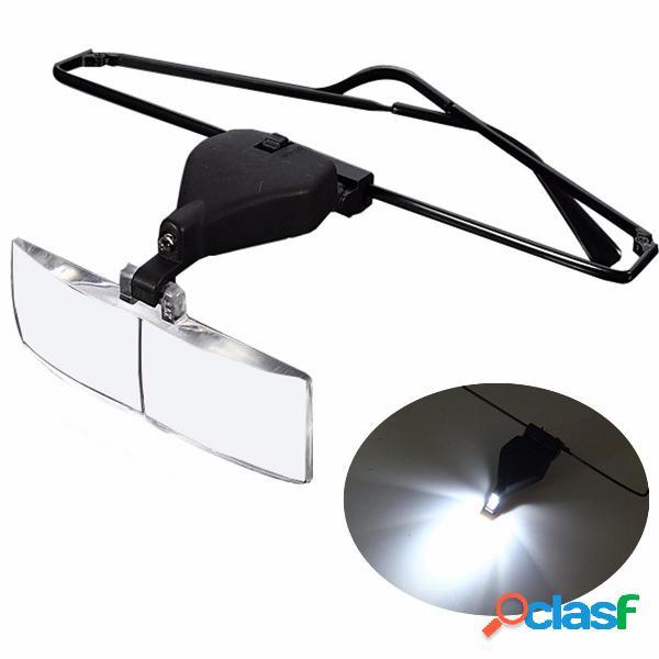 1.5X 2.5X 3.5X Supporto Occhiali LED lampada Lente di