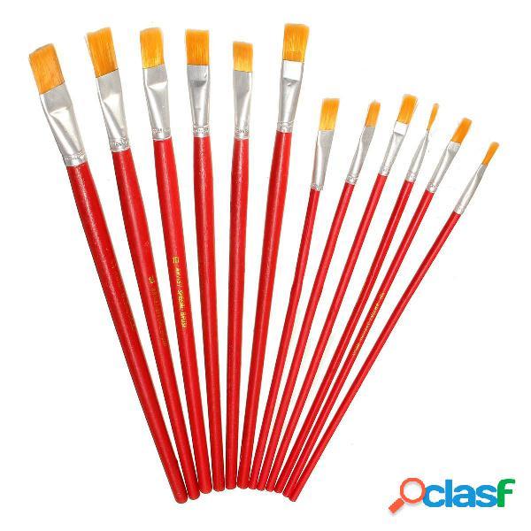 1 set asta rossa Nylon Capelli pittura Pennello 6/12 pz per