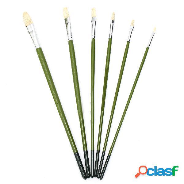1 set asta verde dipinto Pennello 6 pezzi pennello lungo