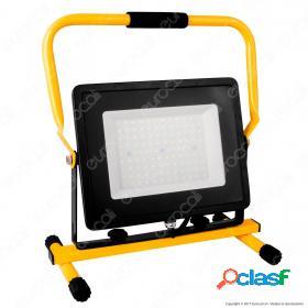100W LED SMD Slim Floodlight with Stand And EU Plug Black