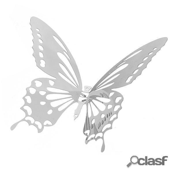 10pcs adesivi murali 3D farfalla argento decalcomanie