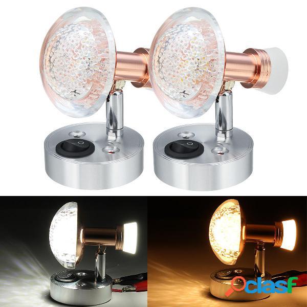 12V 3W + 1W Acrilico Interno LED Lampada da lettura
