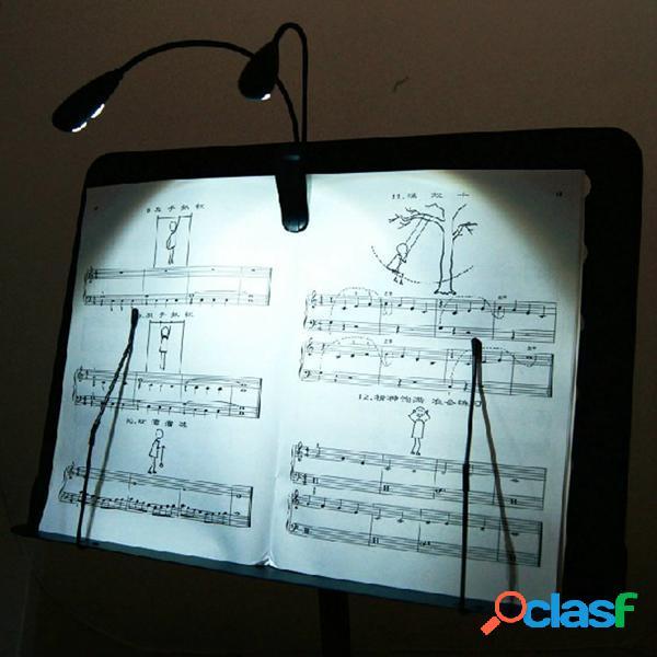 2 doppi bracci 4 LED flessibile della clip leggio musica su