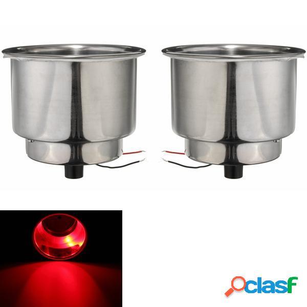 2pcs rosso 8 LED s portabibite tazza in acciaio inox per