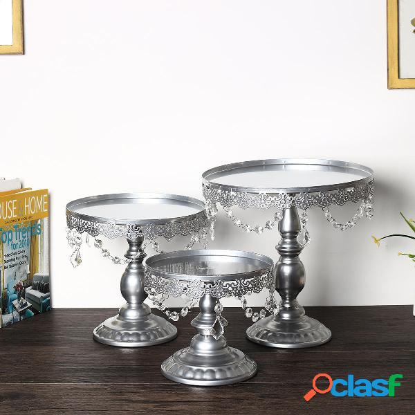 3 pezzi / set ciondoli in cristallo di ferro argento