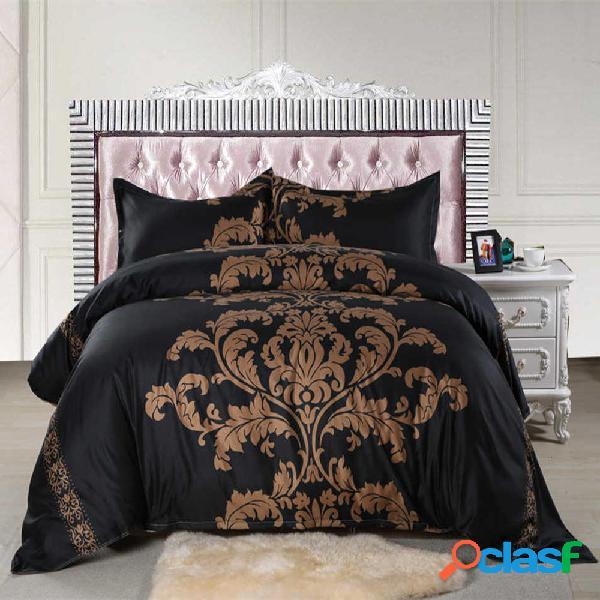 3 pezzi set di biancheria da letto in bianco e nero