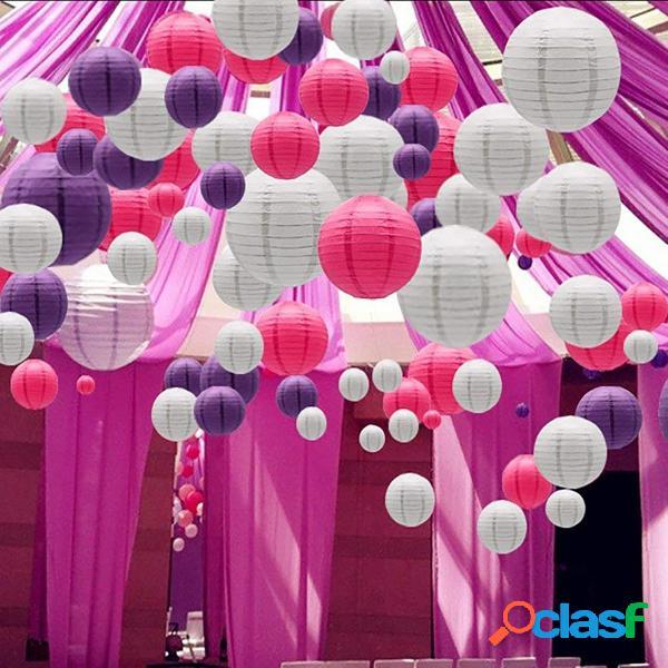 """30PCS Per Set 6 """"-14"""" Lanterna di carta rosa bianca viola"""