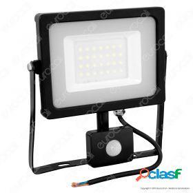 30W LED Sensor Floodlight Black Body SMD 6000K
