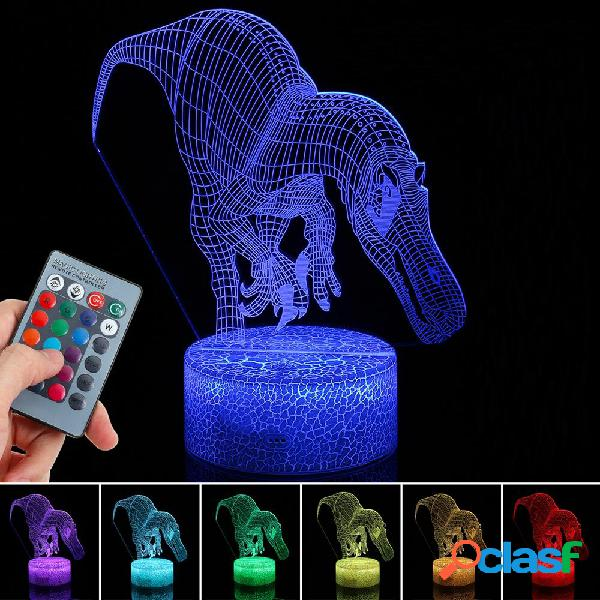 3D Illusion Dinosaur Night Light Touch RemoteEControl Home
