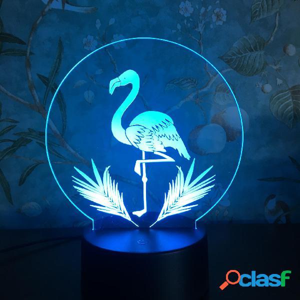 3D Night Light Touch Coloreful Flamingo LED Tavolo lampada