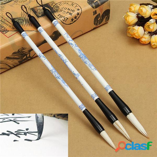 3pcs pennello penna blu Foto in bianco e calligrafia cinese