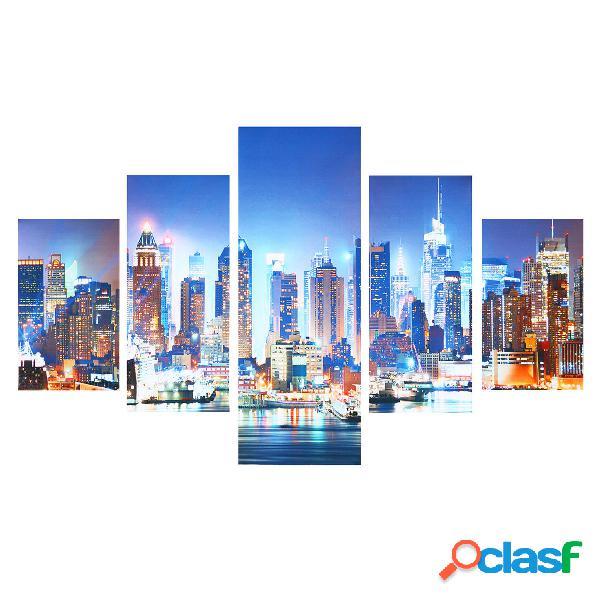 5 pannelli dipinti a mano su tela di New York City per la