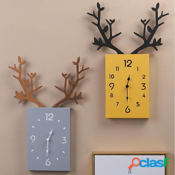 50 x 35cm Semplice orologio da parete in legno di antler