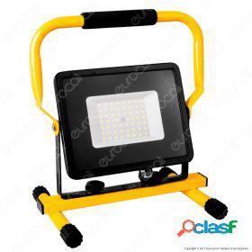 50W LED SMD Slim Floodlight with Stand And EU Plug Black