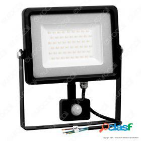 50W LED Sensor Floodlight Black Body SMD 6000K
