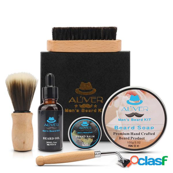 6 in 1 Men Gents Beard Grooming Kit Shampoo barba Olio