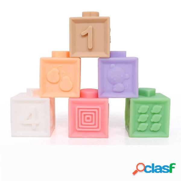 6/12 pezzi di gomma Soft Colorful spremere impilare il