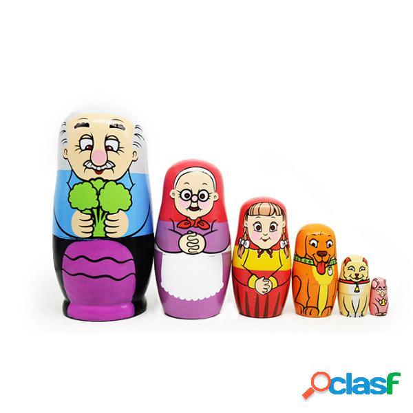 6PCS Bambola di nidificazione di legno russa Famiglia felice