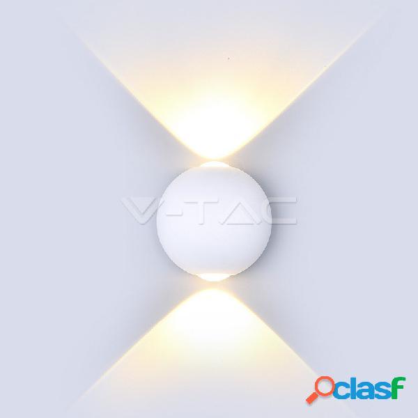 6W LED Wall Light White Body Round IP65 3000K