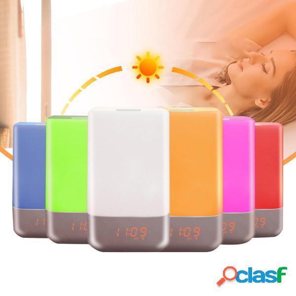 7 colori LED Wake-up Light Sunrise Simulazione Sveglia Touch
