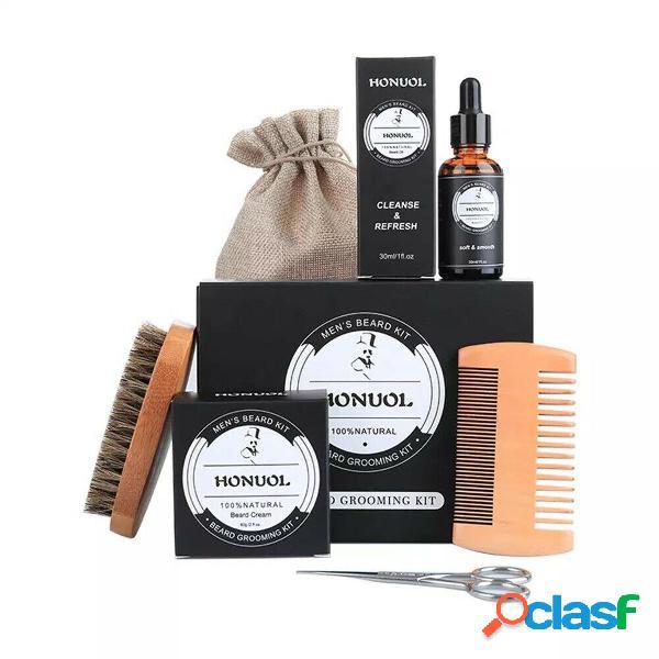 7Pcs / Set Premium Balsamo per barba organico Cera Barba