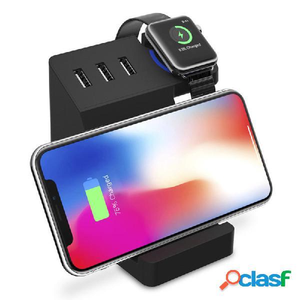Bakeey 3 porte USB Qi Supporto per telefono da tavolo per