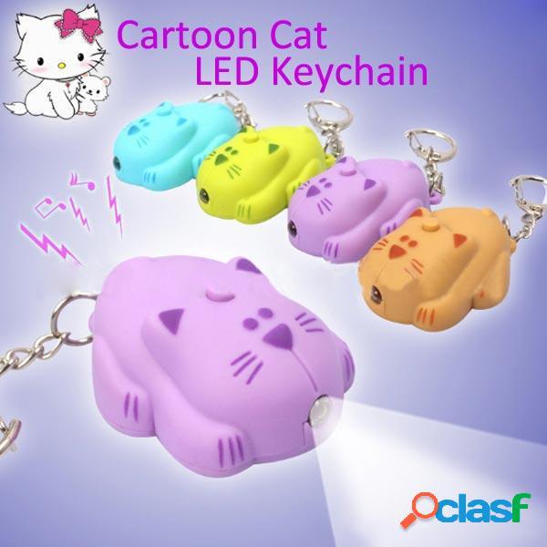 Bysun suono creativo fumetto gatto LED colore portachiavi