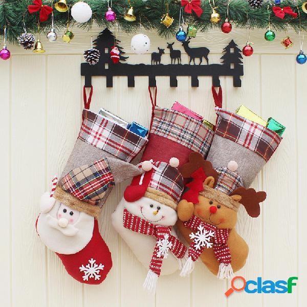 Candy di Natale Borsa Regalo di calzino di Babbo Natale di
