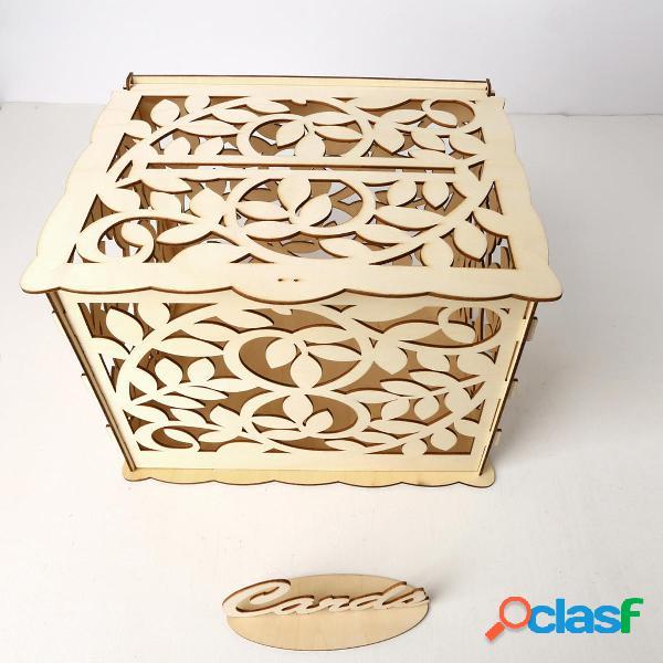 Carta di nozze Scatola con serratura fai da te in legno