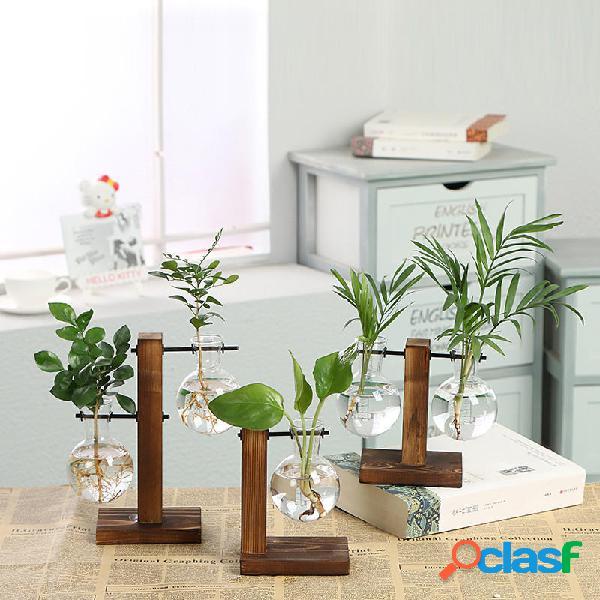 Decorazioni per cornice in legno trasparente vaso di fiori