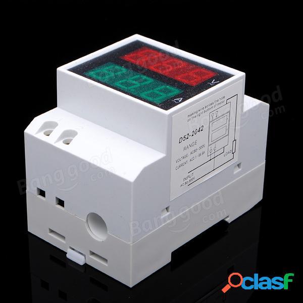 Din AC 80-300 V AC LED Dual Display Volt Meter Amperometro