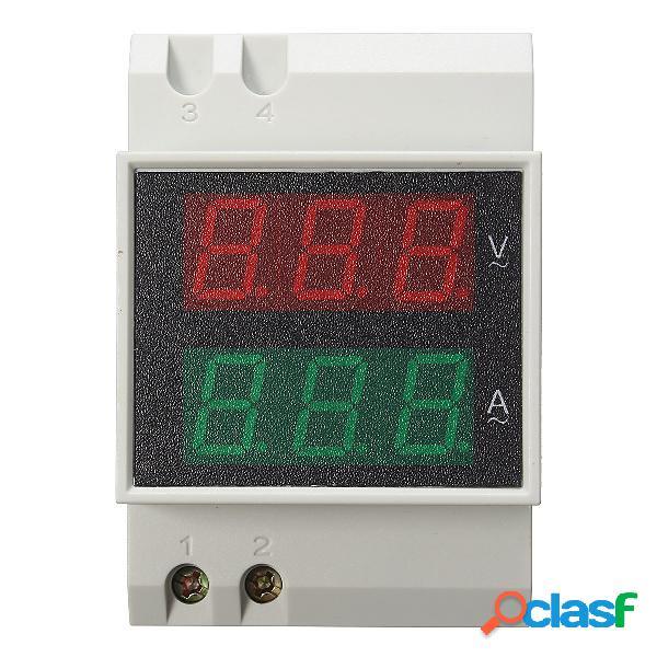 Din Rail LED Amperometro Volt Meterr da 80-300V 0-100.0A
