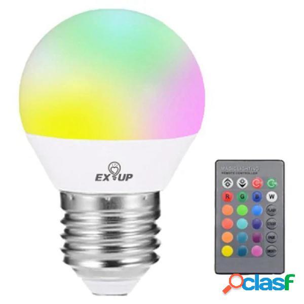 EXUP AC85-265V 5W G45 E27 RGB LED Lampadina a globo + 24