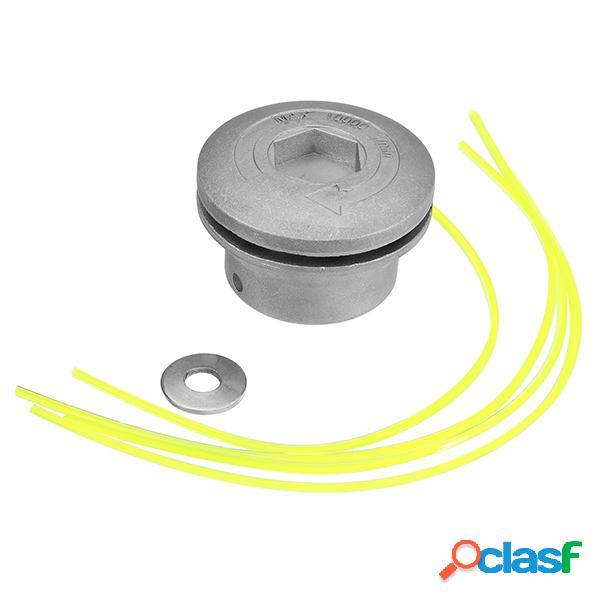 Erba in alluminio Trimmer Testa con 4 Nylon Linee Pennello