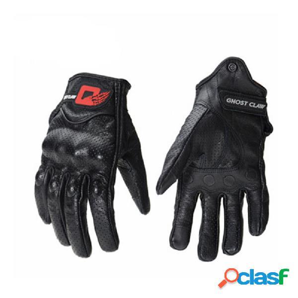 GHOST RACING Touch Screen Leather Guanti Moto protettivo per