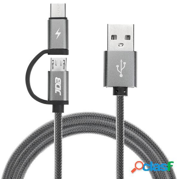JDB 2 in 1 Type C Cavo di ricarica rapida micro USB con