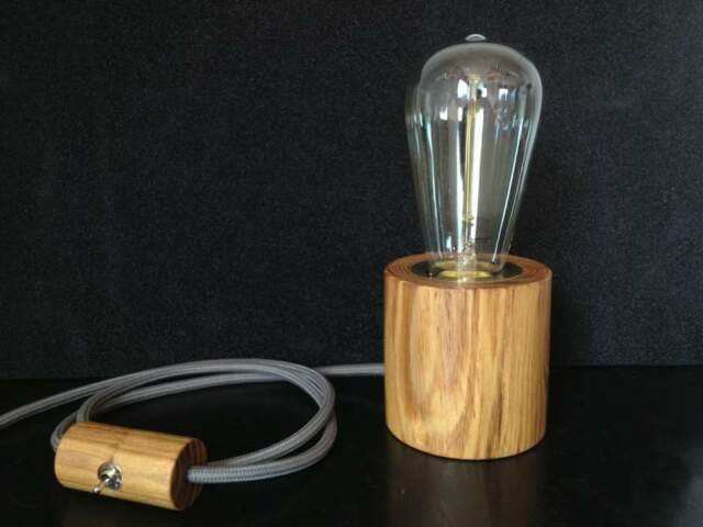 Lampada da tavolo legno massello design vintage